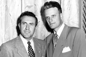 Louis Zamperini and Billy Graham at the 1949 Los Angeles Crusade where Zamperini made a life-changing decision for Christ